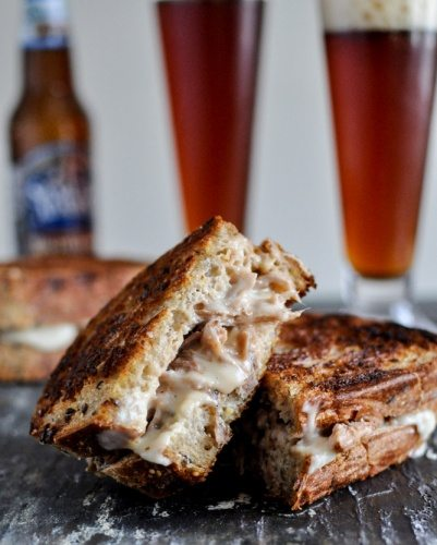 Pulled Pork Beer Cheese Grilled Cheese Sandwiches