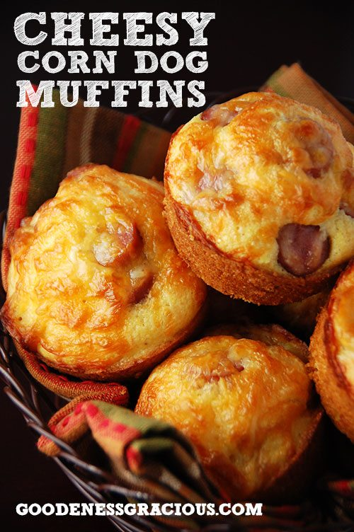 ... These kid-friendly Cheesy Corn Dog Muffins are sure to do the trick